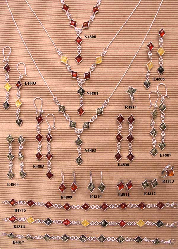 silver and amber jewellery